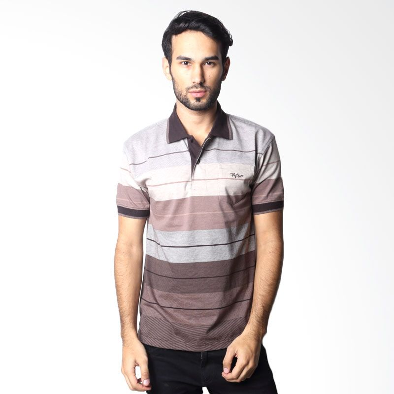 BYTAGO Stripe Short Sleeve 107A Brown Polo Shirt