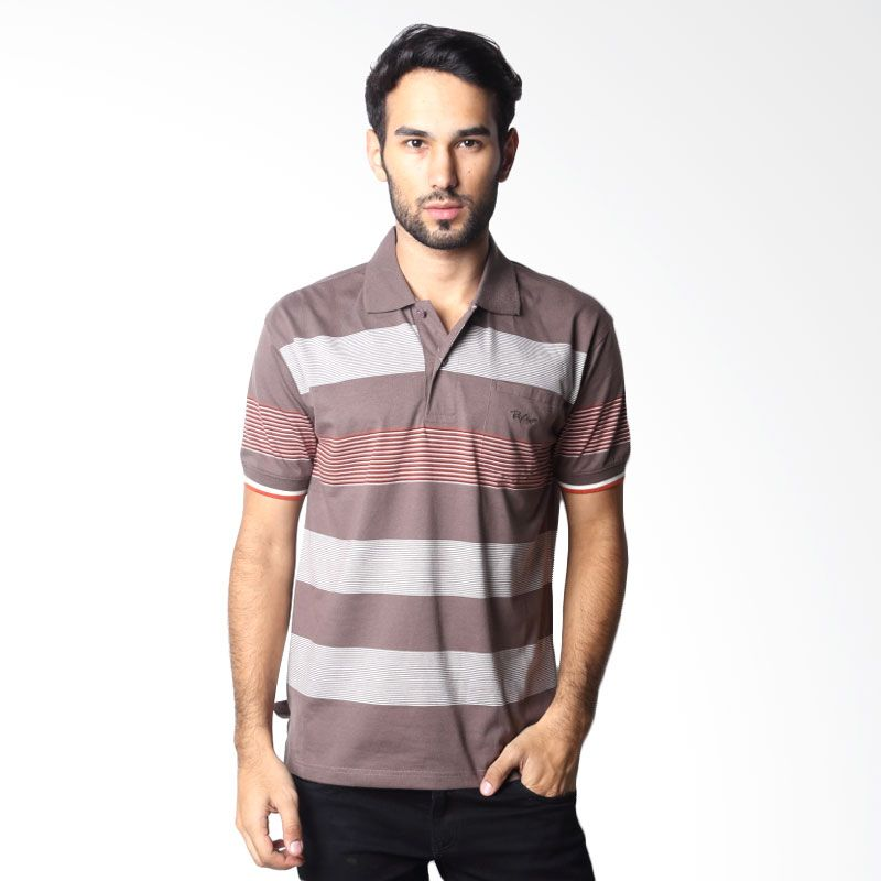 BYTAGO Stripe Short Sleeve 112A Brown Polo Shirt