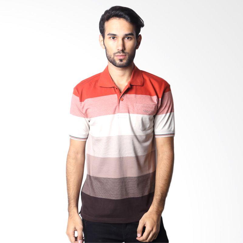 BYTAGO Stripe Short Sleeve 129 Orange Polo Shirt