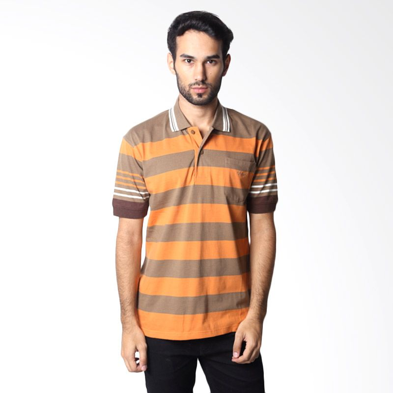 BYTAGO Stripe Short Sleeve 131A Brown Polo Shirt