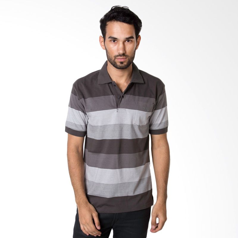 Bytago Stripe Short Sleeve 160A Black Polo Shirt