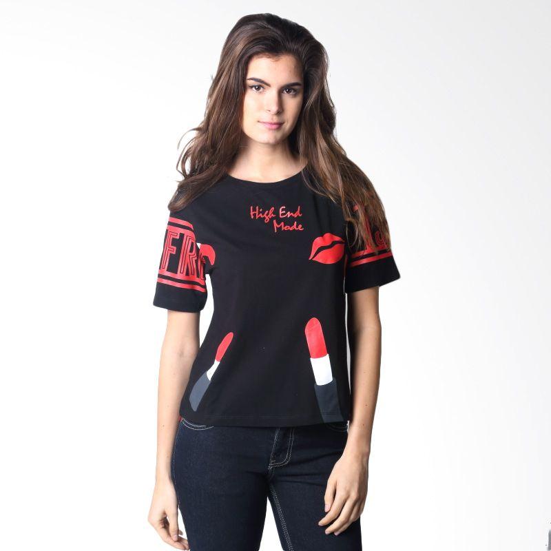 Hassenda 463 Plane Black T-shirt Wanita