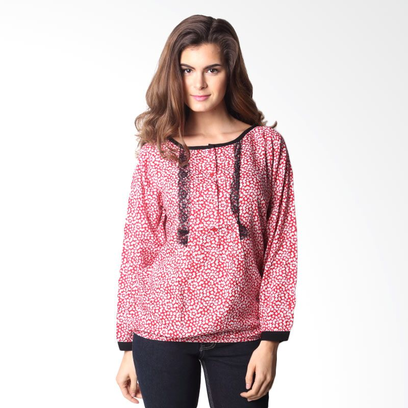 Puricia Ladies 904 Flowers Red Blouse