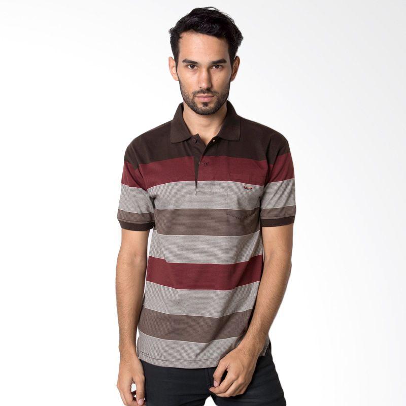 VERENZO Man Stripe 137 Brown Kaos Polo