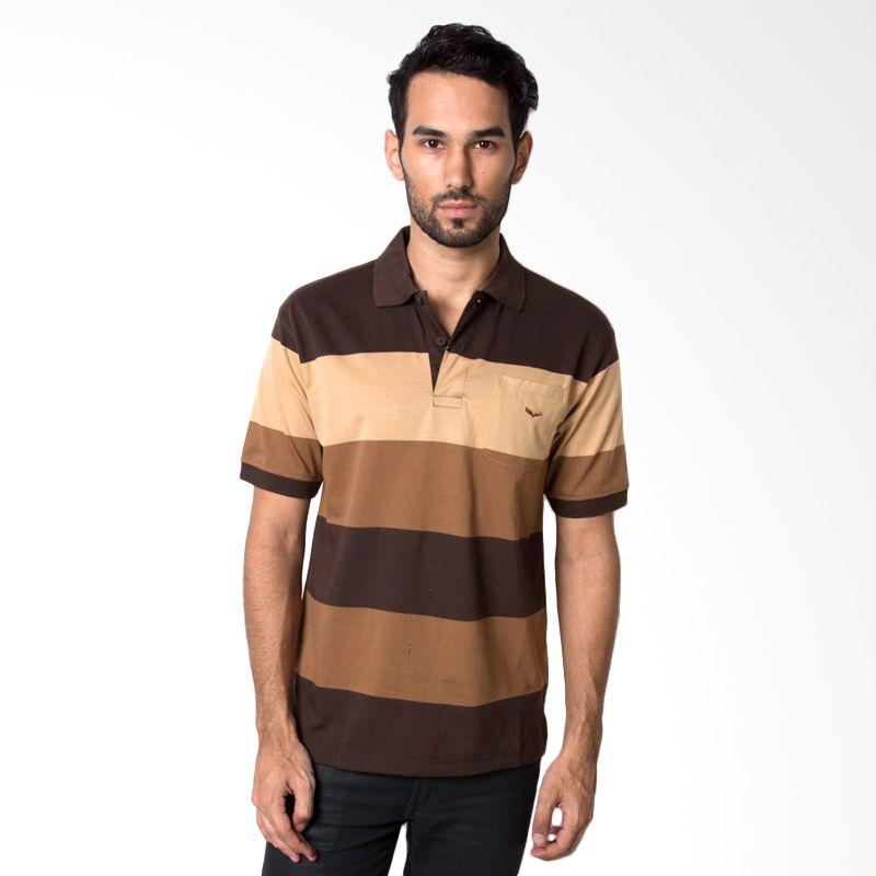 VERENZO Man Stripe 340 Brown Kaos Polo