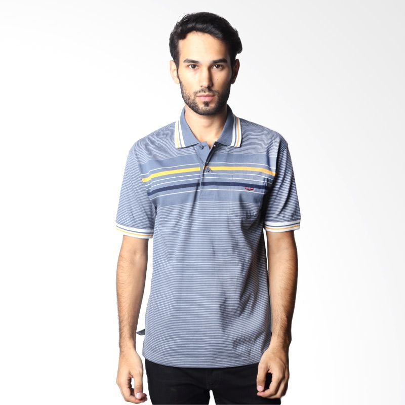 Verenzo Stripe Short Sleeve 064A Grey Polo Shirt