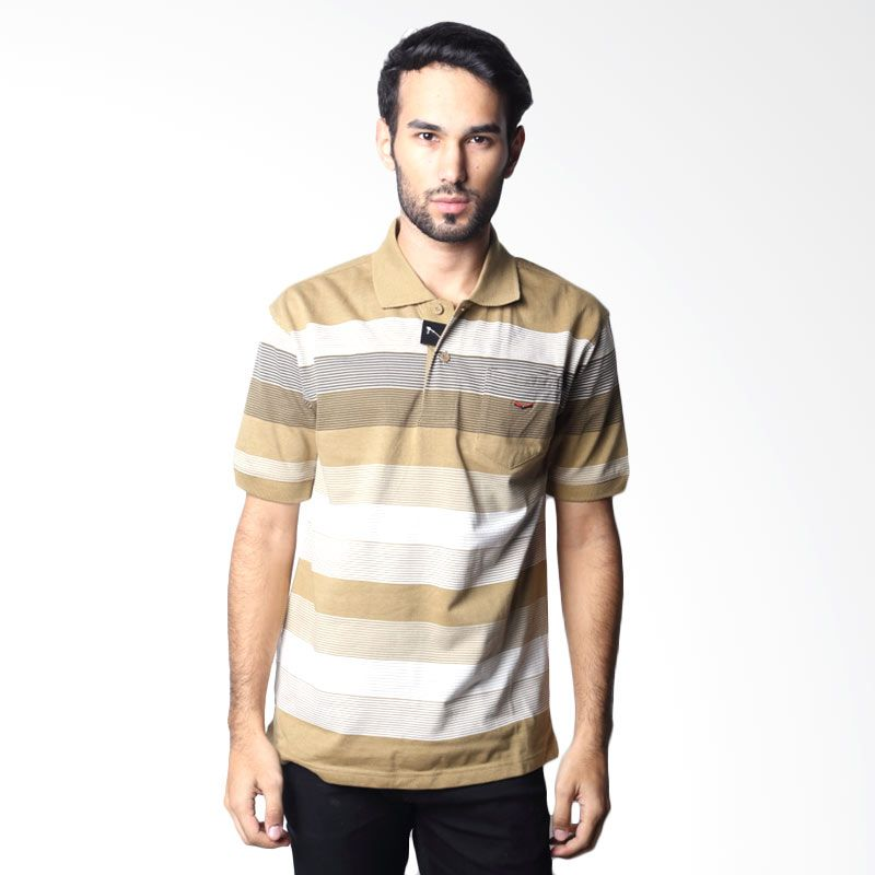 Verenzo Stripe Short Sleeve 097A Brown Polo Shirt