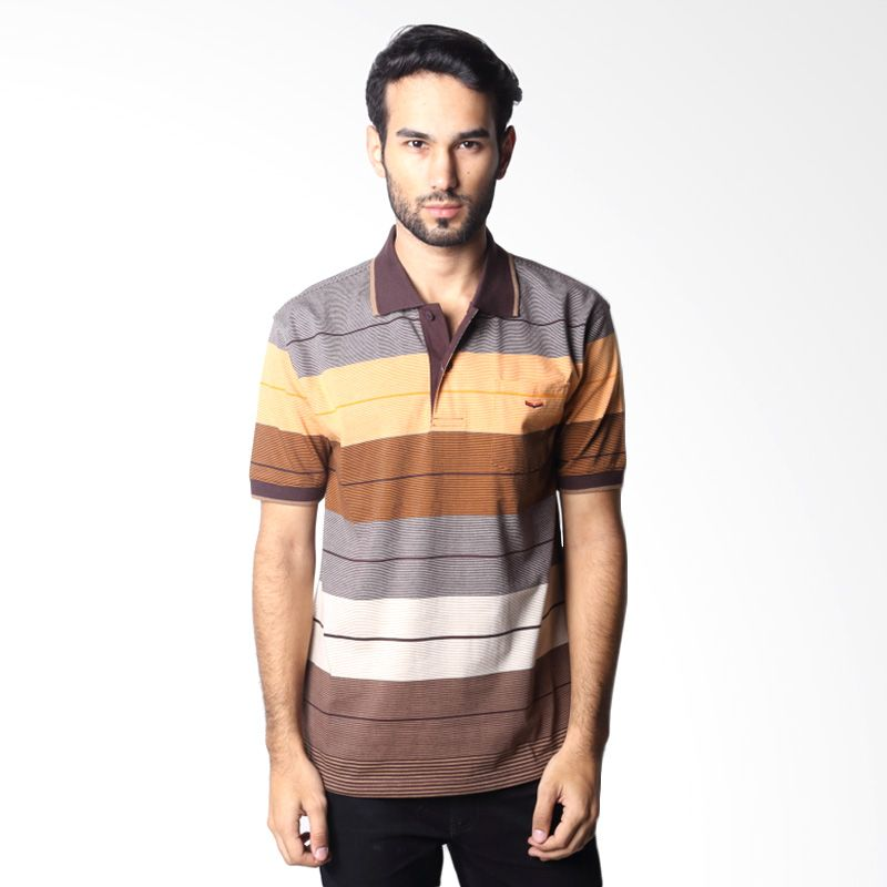 Verenzo Stripe Short Sleeve 100A Brown Polo Shirt