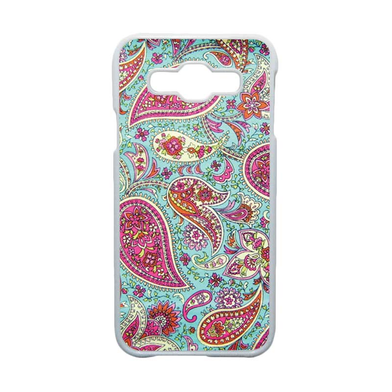 HEAVENCASE  Motif Batik Bunga Unik Paisley 02 Hardcase Casing for Samsung Galaxy E5 - Putih