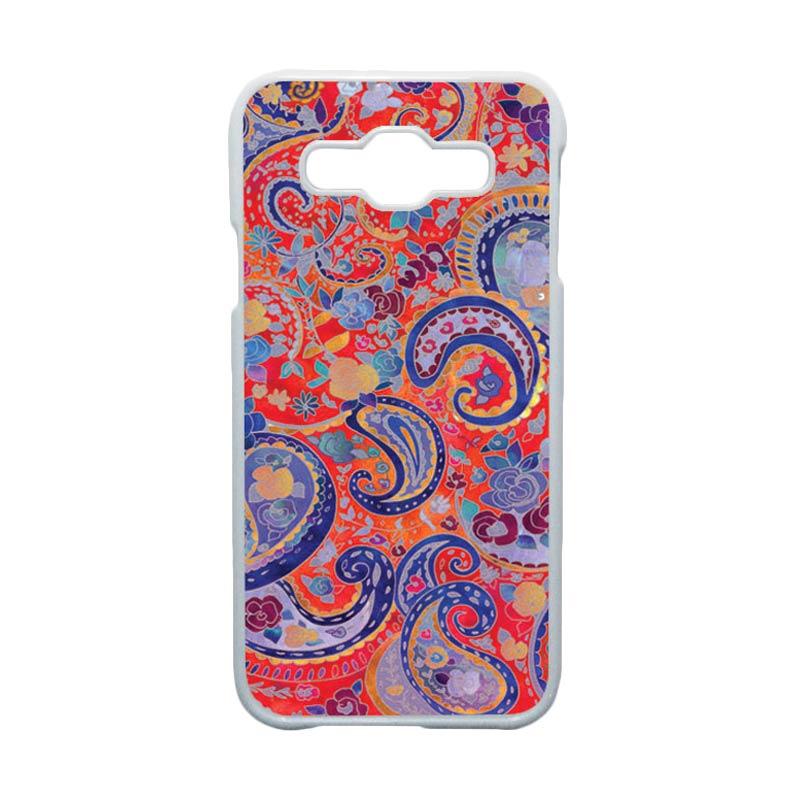 HEAVENCASE  Motif Batik Bunga Unik Paisley 03 Hardcase Casing for Samsung Galaxy E5 - Putih