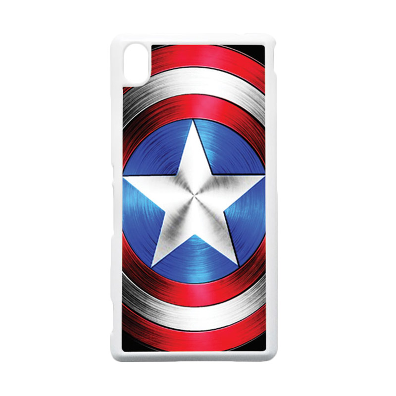 HEAVENCASE Captain America 02 Putih Hardcase Casing for Sony Xperia M4 Aqua
