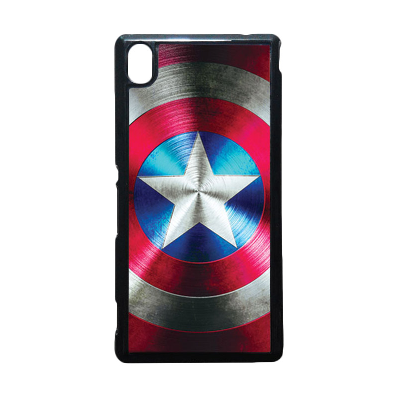 HEAVENCASE Captain America 03 Hitam Hardcase Casing for Sony Xperia M4 Aqua