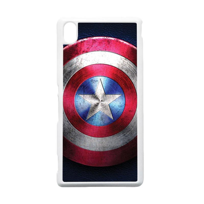 HEAVENCASE Captain America 04 Putih Hardcase Casing for Sony Xperia M4 Aqua