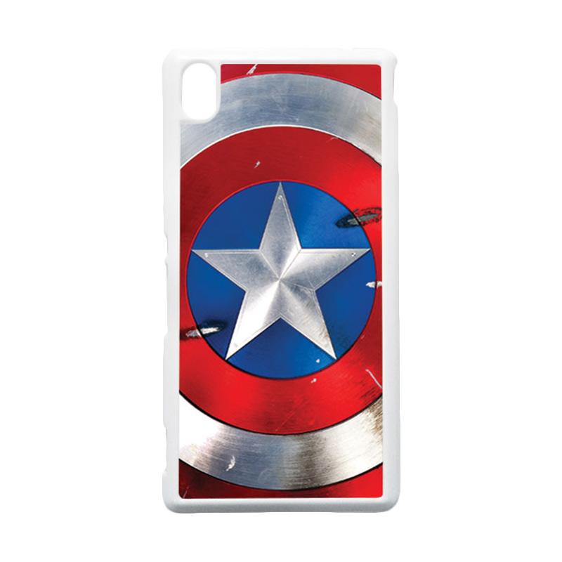HEAVENCASE Captain America 05 Putih Hardcase Casing for Sony Xperia M4 Aqua