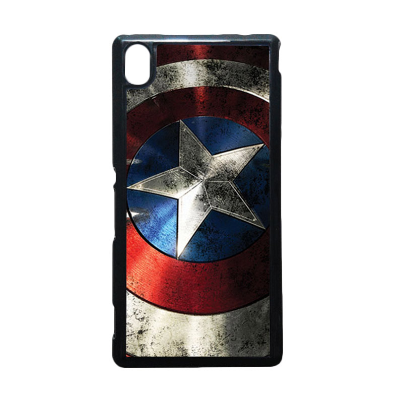 HEAVENCASE Captain America 06 Hitam Hardcase Casing for Sony Xperia M4 Aqua