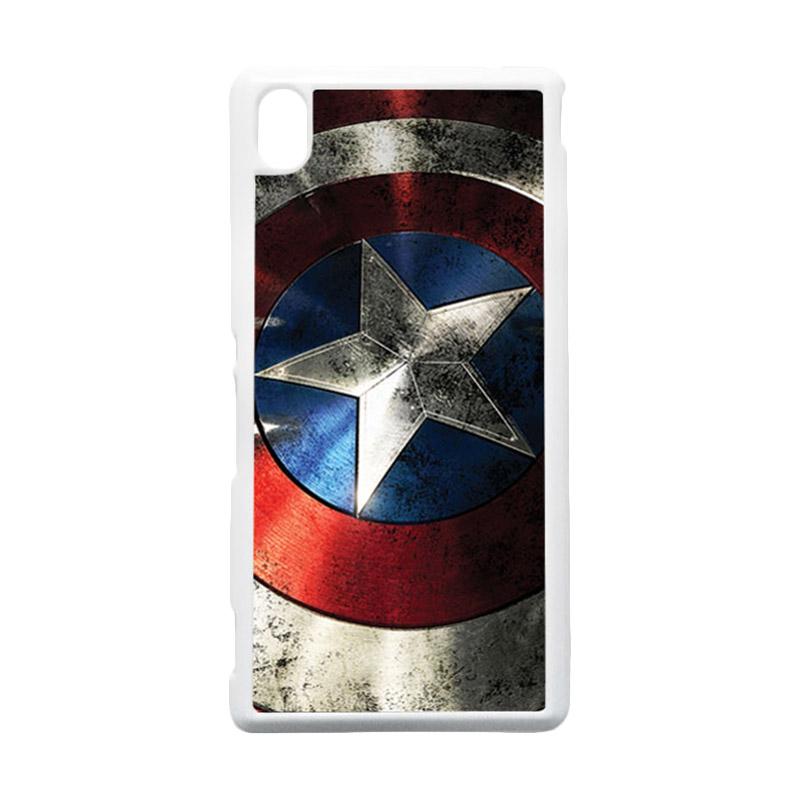 HEAVENCASE Captain America 06 Putih Hardcase Casing for Sony Xperia M4 Aqua
