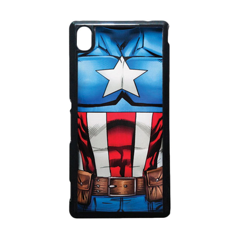 HEAVENCASE Captain America 08 Hitam Hardcase Casing for Sony Xperia M4 Aqua