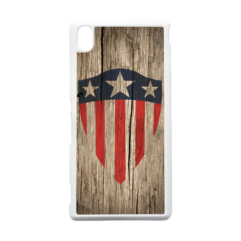 HEAVENCASE Captain America 10 Putih Hardcase Casing for Sony Xperia M4 Aqua