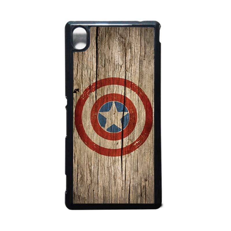 HEAVENCASE Captain America 11 Hitam Hardcase Casing for Sony Xperia M4 Aqua