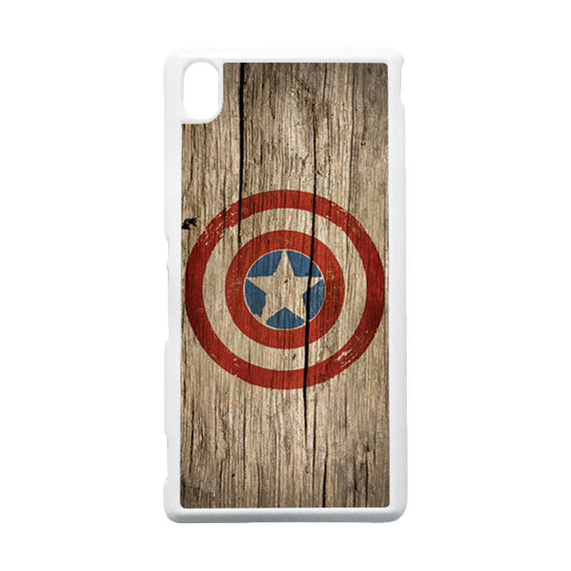 HEAVENCASE Captain America 11 Putih Hardcase Casing for Sony Xperia M4 Aqua