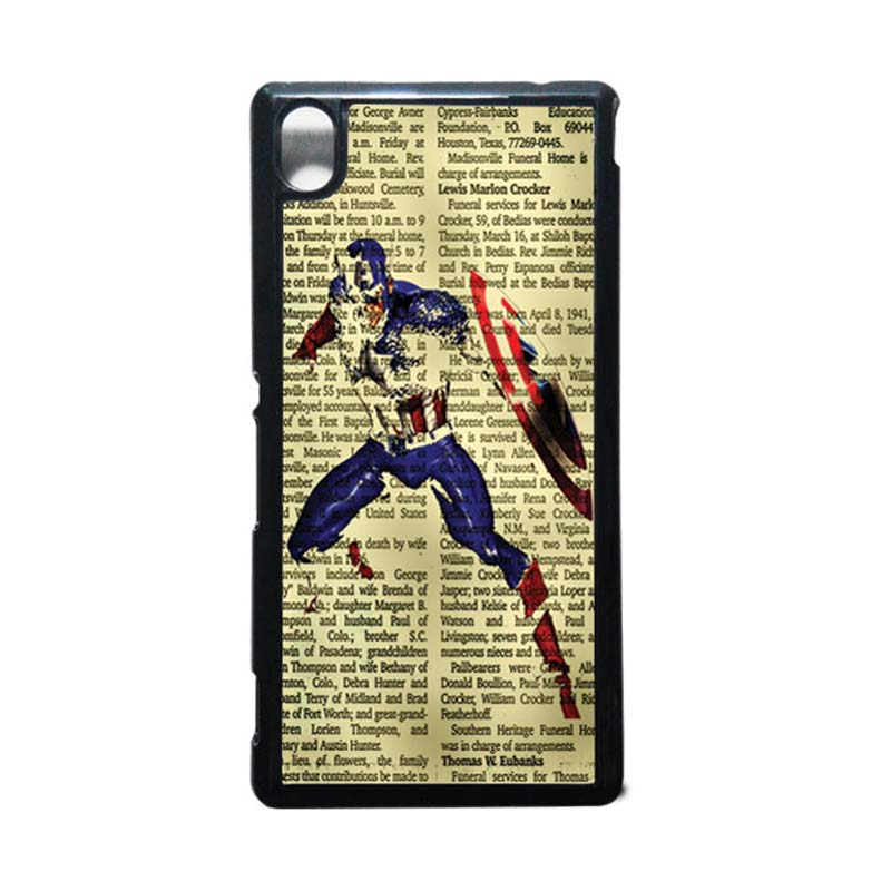 HEAVENCASE Captain America 12 Hitam Hardcase Casing for Sony Xperia M4 Aqua