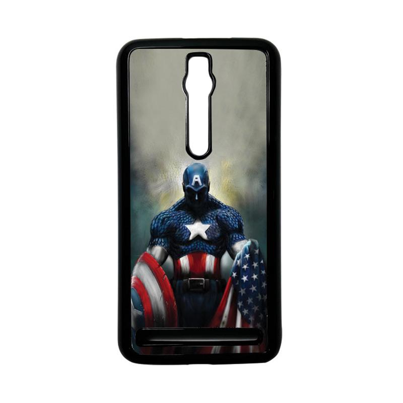 Heavencase Captain America 13 Hardcase Casing for Asus Zenfone 2 ZE551ML or ZE550ML - Hitam