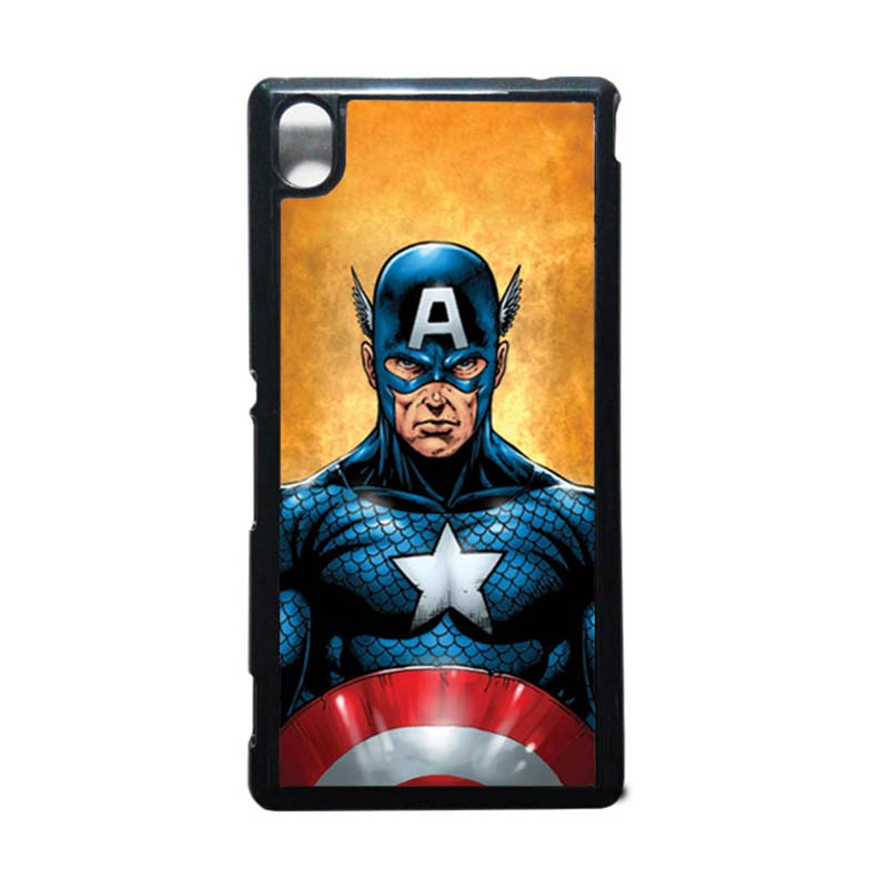 HEAVENCASE Captain America 14 Hitam Hardcase Casing for Sony Xperia M4 Aqua