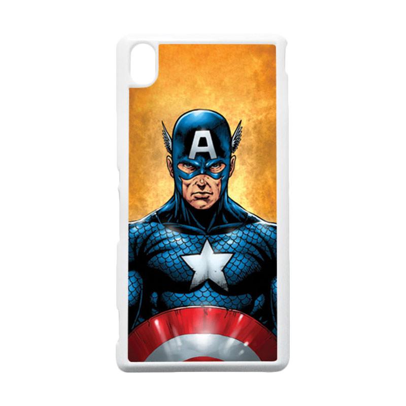 HEAVENCASE Captain America 14 Putih Hardcase Casing for Sony Xperia M4 Aqua