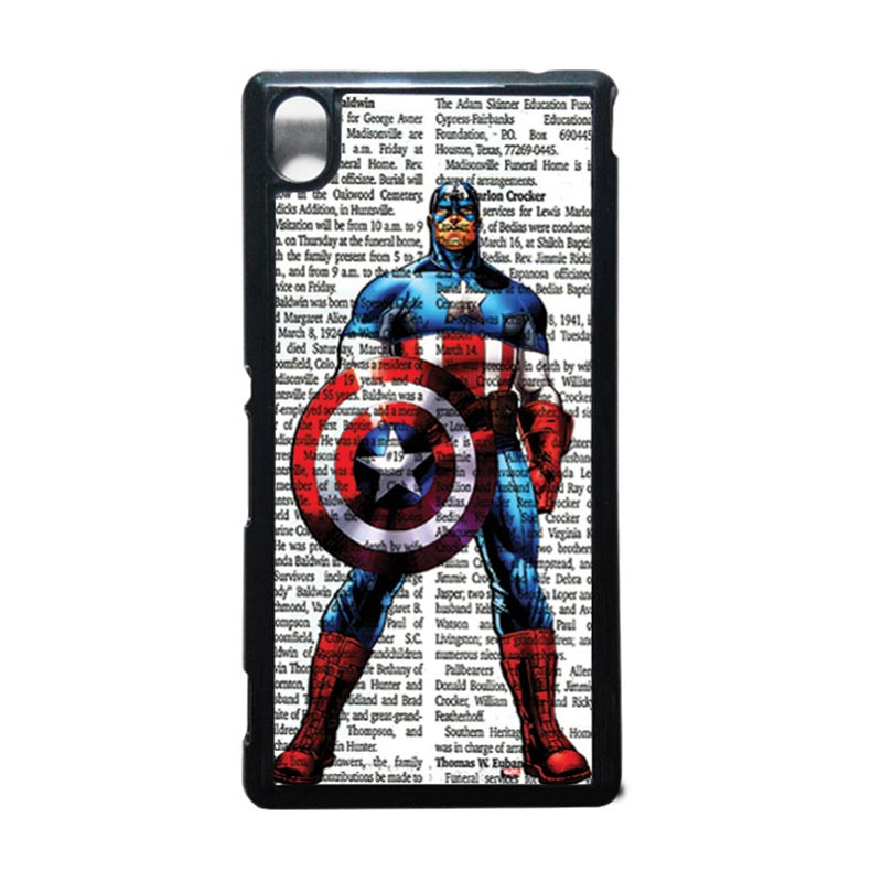 HEAVENCASE Captain America 15 Hitam Hardcase Casing for Sony Xperia M4 Aqua