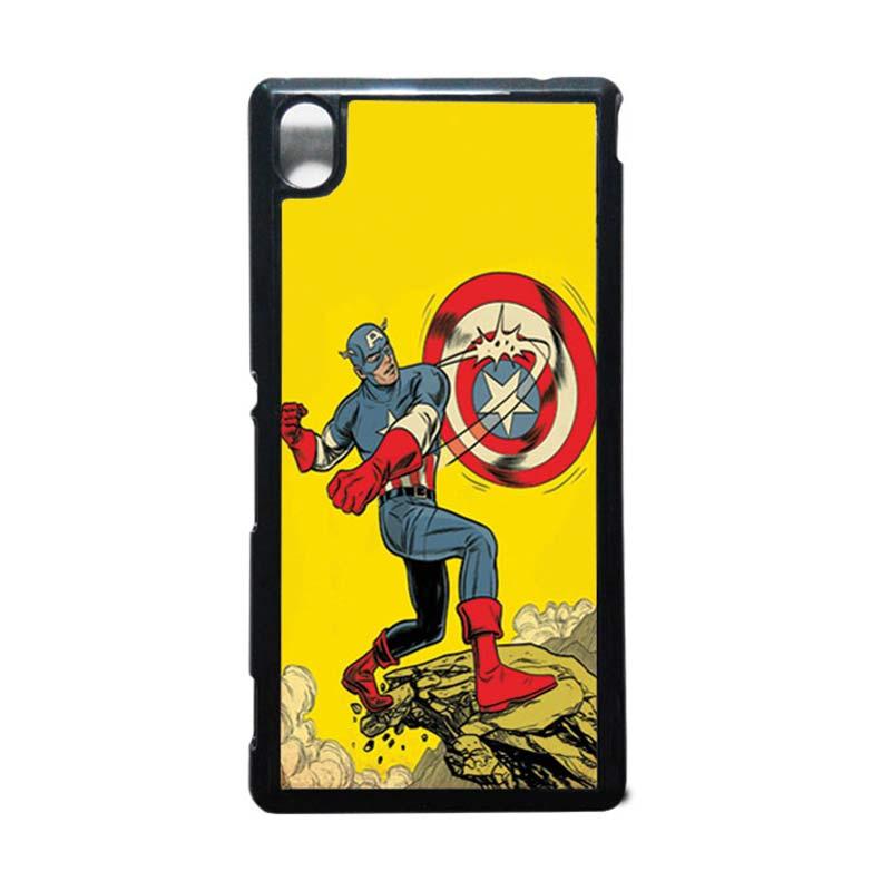 HEAVENCASE Captain America 16 Hitam Hardcase Casing for Sony Xperia M4 Aqua