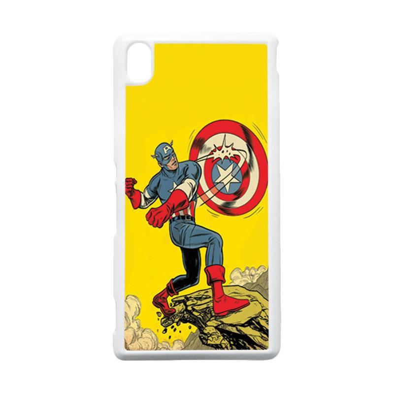 HEAVENCASE Captain America 16 Putih Hardcase Casing for Sony Xperia M4 Aqua
