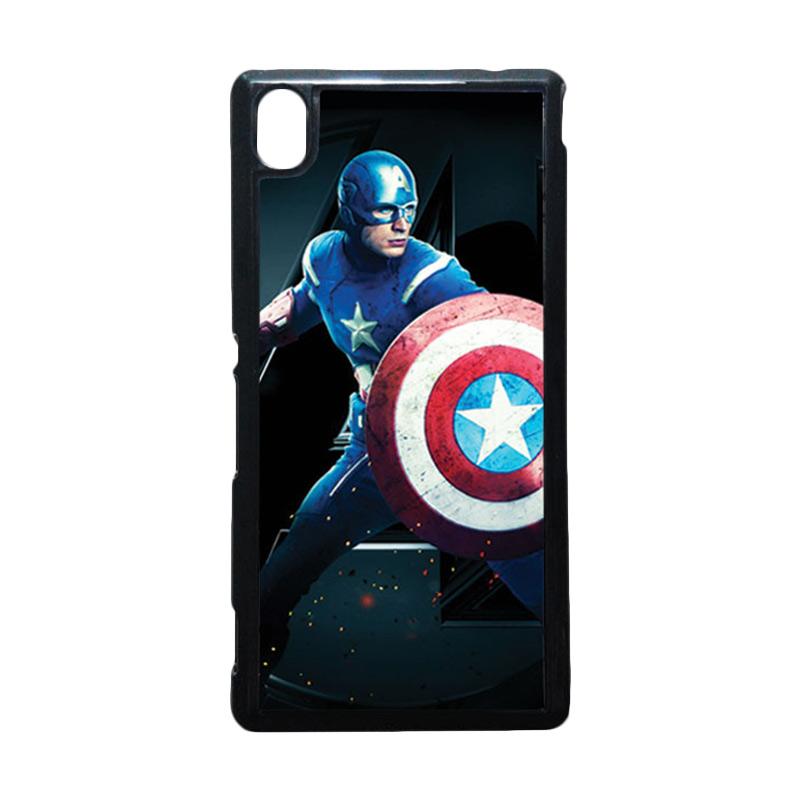 HEAVENCASE Captain America 17 Hitam Hardcase Casing for Sony Xperia M4 Aqua