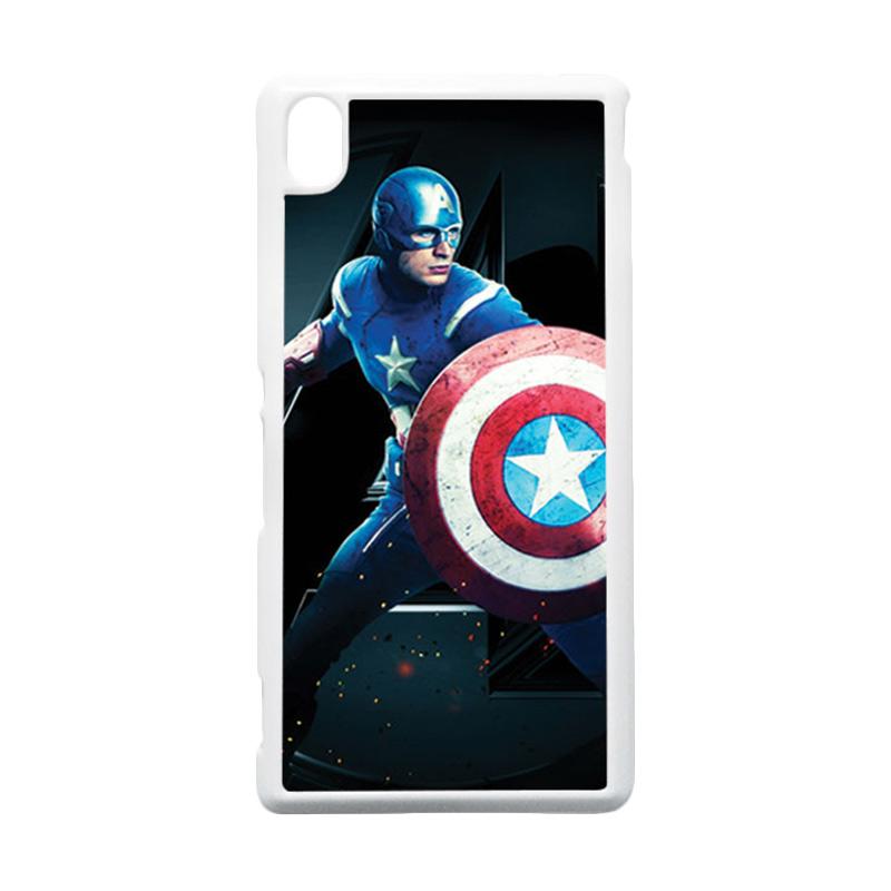 HEAVENCASE Captain America 17 Putih Hardcase Casing for Sony Xperia M4 Aqua
