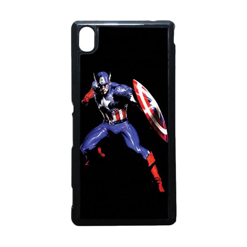 HEAVENCASE Captain America 19 Hitam Hardcase Casing for Sony Xperia M4 Aqua