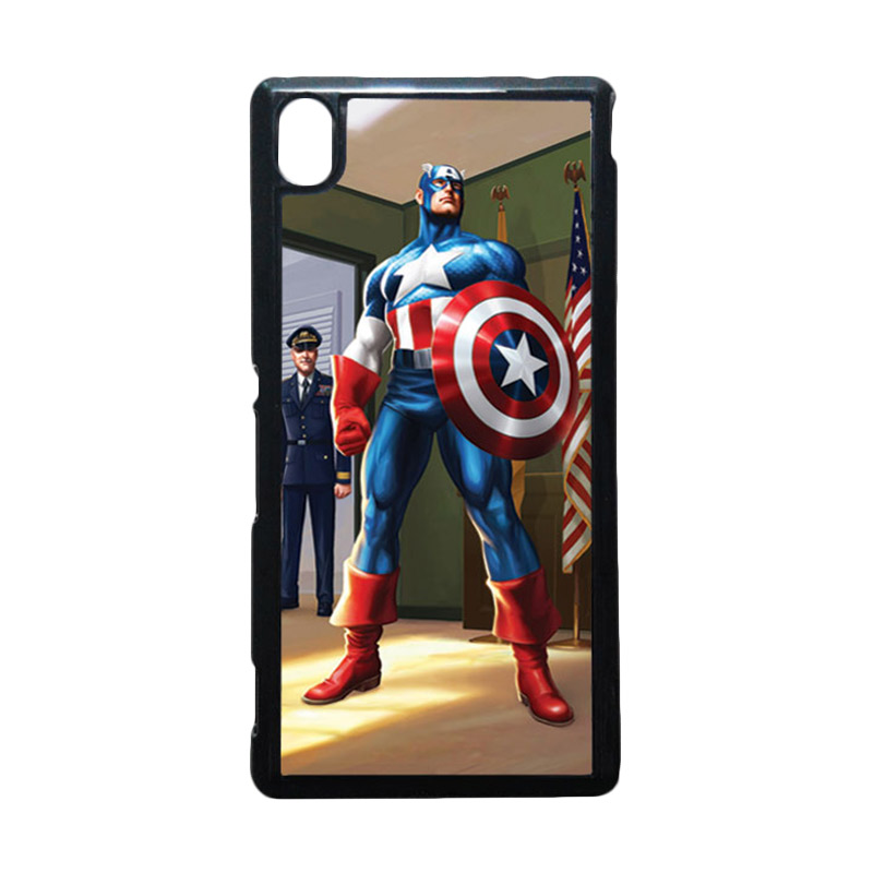 HEAVENCASE Captain America 20 Hitam Hardcase Casing for Sony Xperia M4 Aqua