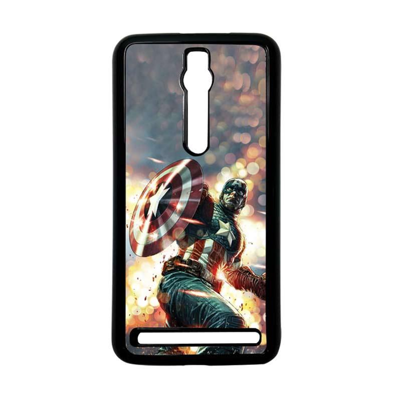 Heavencase Captain America 22 Hitam Hardcase Casing for Asus Zenfone 2 Ze551ml or Ze550ml