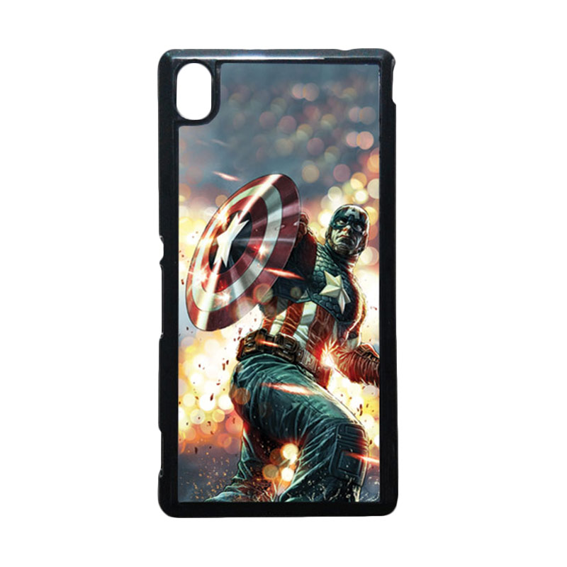 HEAVENCASE Captain America 22 Hitam Hardcase Casing for Sony Xperia M4 Aqua