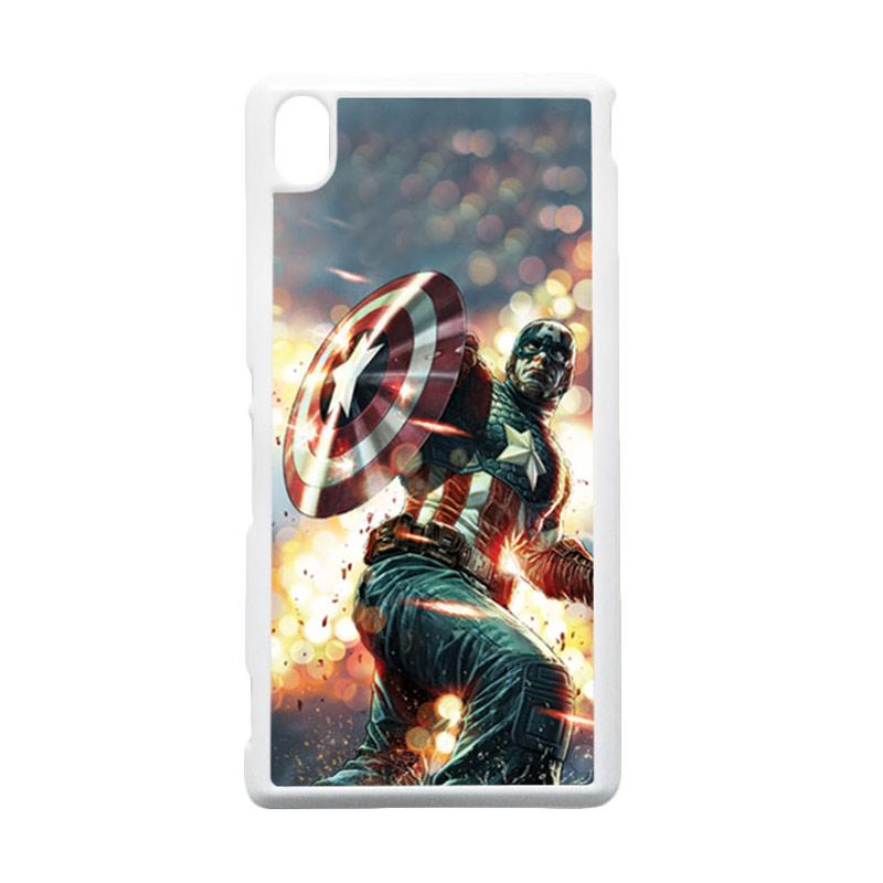 HEAVENCASE Captain America 22 Putih Hardcase Casing for Sony Xperia M4 Aqua