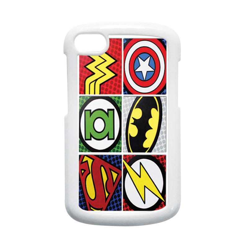 HEAVENCASE Superhero Logo Putih Hardcase Casing for Blackberry Q10