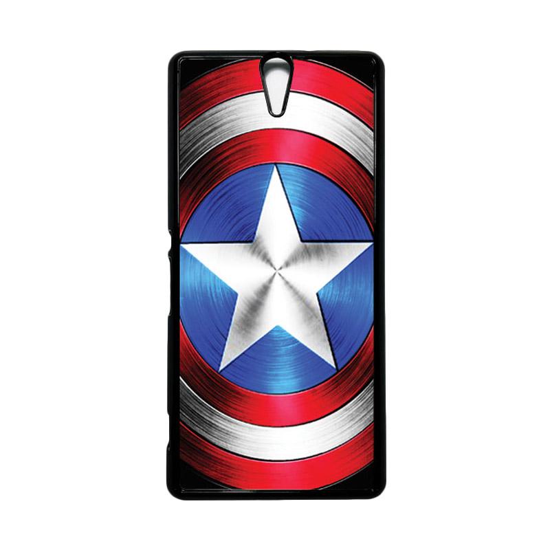 HEAVENCASE Superhero Captain America 02 Hitam Hardcase Casing for Sony Xperia C5 Ultra