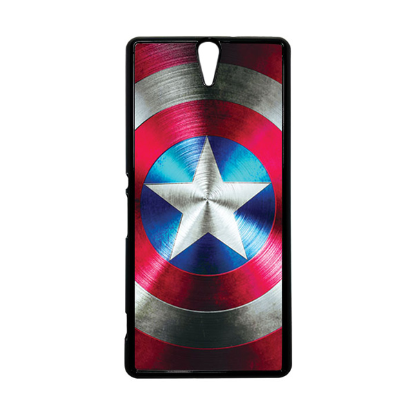 HEAVENCASE Superhero Captain America 03 Hitam Hardcase Casing for Sony Xperia C5 Ultra