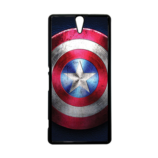 HEAVENCASE Superhero Captain America 04 Hitam Hardcase Casing for Sony Xperia C5 Ultra