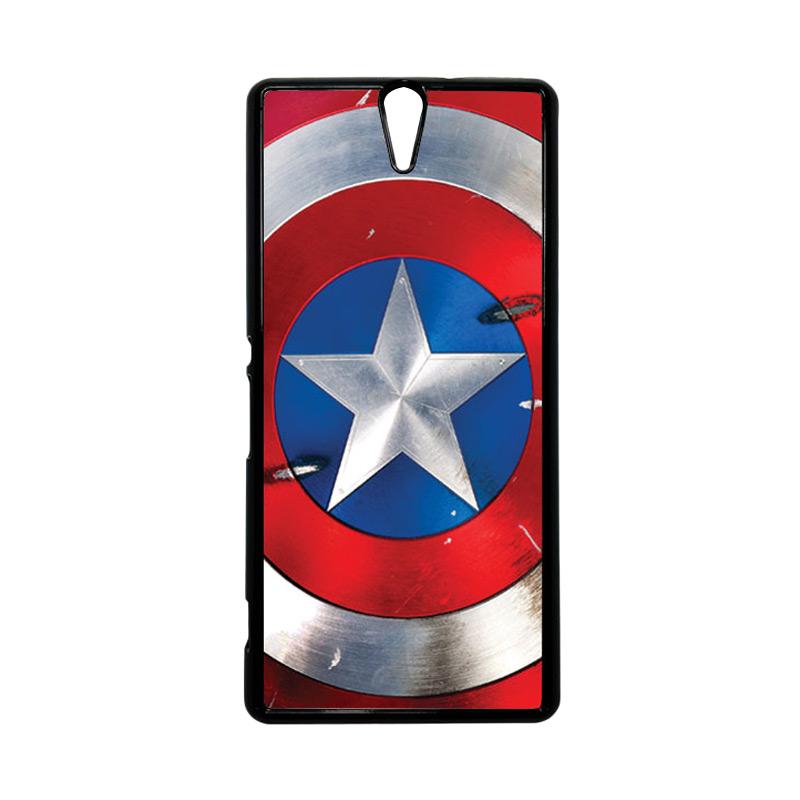 HEAVENCASE Superhero Captain America 05 Hitam Hardcase Casing for Sony Xperia C5 Ultra