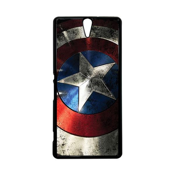 HEAVENCASE Superhero Captain America 06 Hitam Hardcase Casing for Sony Xperia C5 Ultra