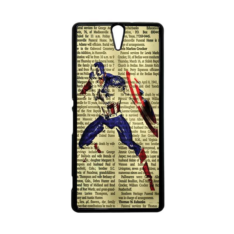 HEAVENCASE Superhero Captain America 12 Hitam Hardcase Casing for Sony Xperia C5 Ultra