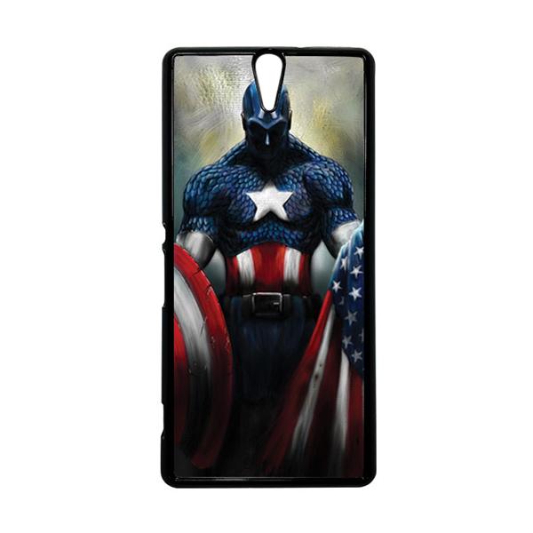HEAVENCASE Superhero Captain America 13 Hitam Hardcase Casing for Sony Xperia C5 Ultra
