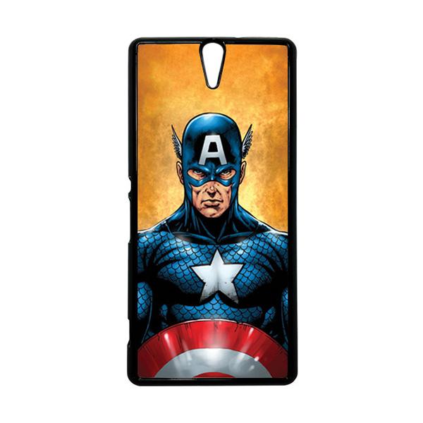 HEAVENCASE Superhero Captain America 14 Hitam Hardcase Casing for Sony Xperia C5 Ultra