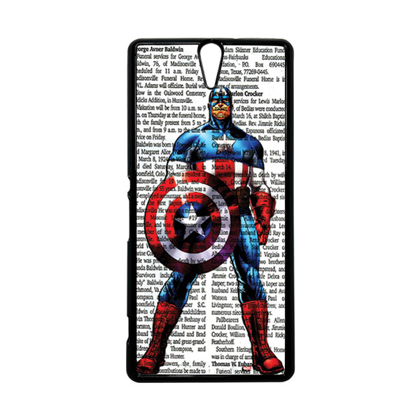 HEAVENCASE Superhero Captain America 15 Hitam Hardcase Casing for Sony Xperia C5 Ultra