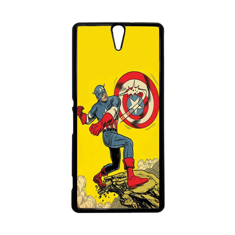 HEAVENCASE Superhero Captain America 16 Hitam Hardcase Casing for Sony Xperia C5 Ultra