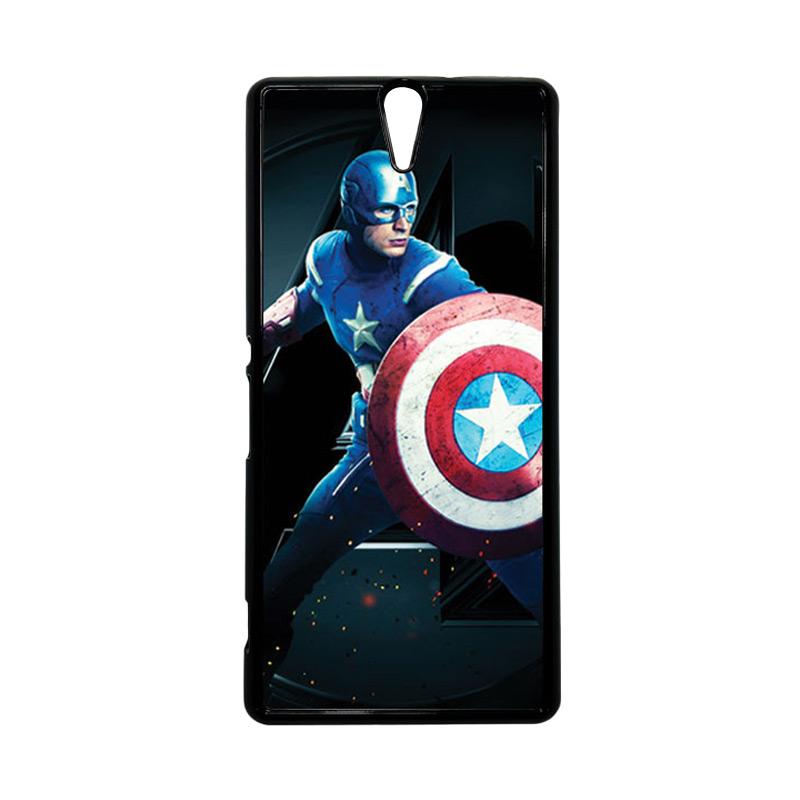 HEAVENCASE Superhero Captain America 17 Hitam Hardcase Casing for Sony Xperia C5 Ultra